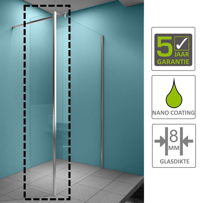 Sanitair-producten 67162 BWS Eco Zijwand met Hoekprofiel 40x200cm NANO Coating 8mm