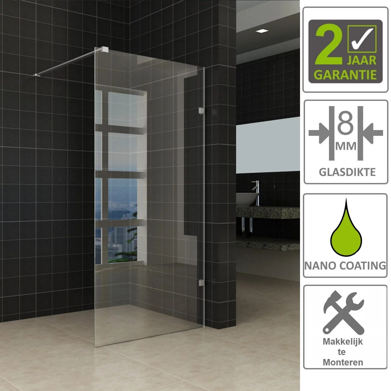 Sanitair-producten 67541 BWS Edge Douchewand Profielloos 120×200 cm 8 mm NANO coating