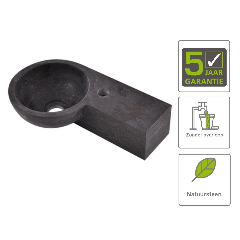 Sanitair-producten 67513 BWS Ziva Fontein Hardsteen Rond Rechts 40x23x10 cm