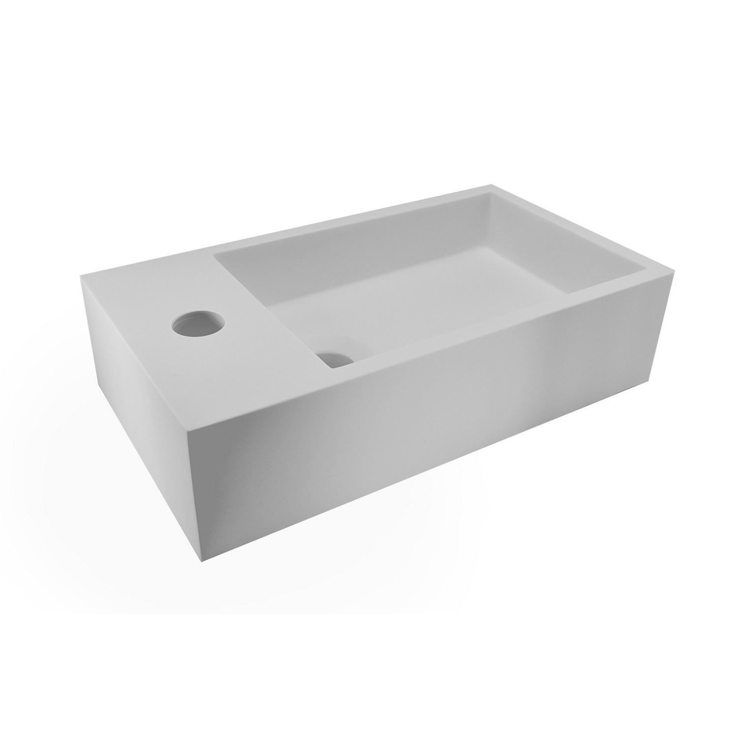Wastafels 73842 BWS Fontein Solid Surface 40x22x10 cm (Links) Mat Wit