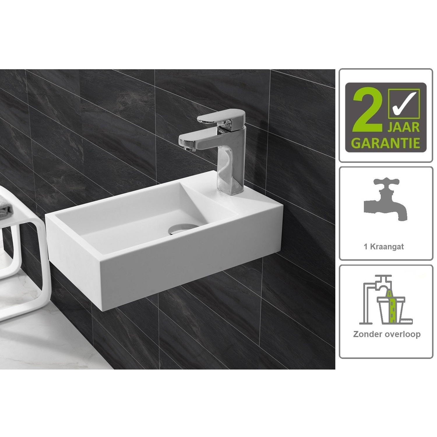 Sanitair-producten 73841 BWS Fontein Solid Surface 40x22x10 cm (Rechts) Mat Wit