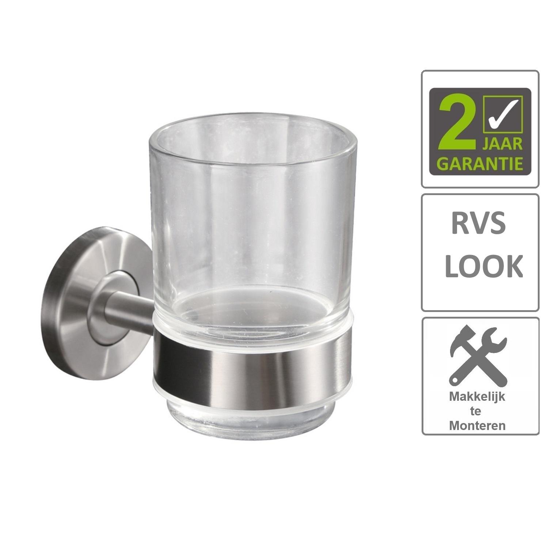 Sanitair-producten 74611 BWS Glashouder Hera Met Glas RVS