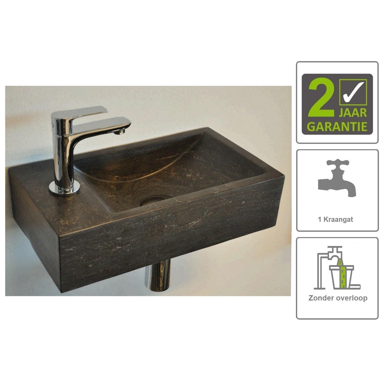 Sanitair-producten 73849 BWS Hardsteen Fontein Zwart 36x18x9 cm (Kraangat Links)