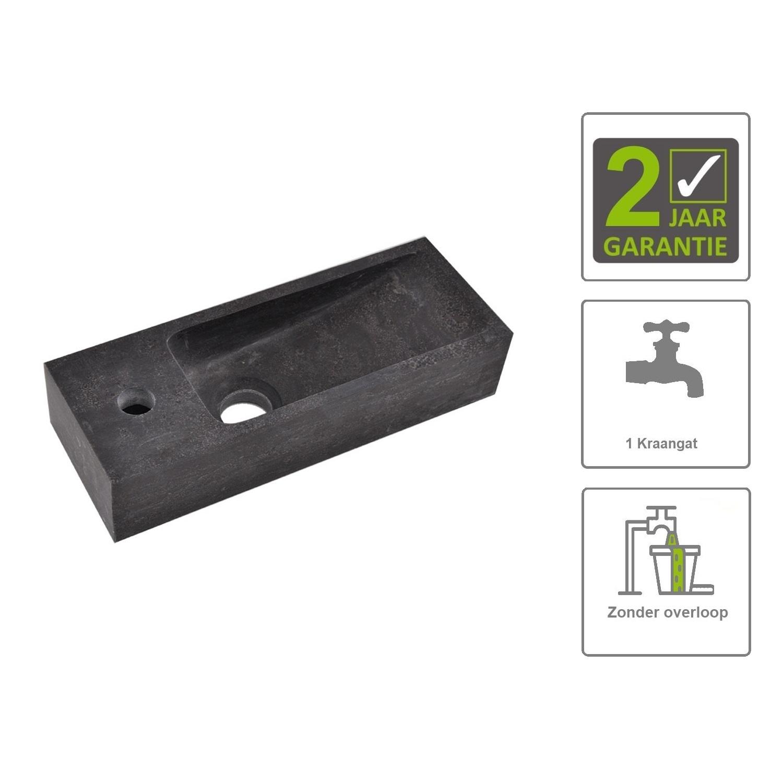 Sanitair-producten 73851 BWS Hardsteen Fontein Zwart Smal 38x14x8 cm (Kraangat Links)