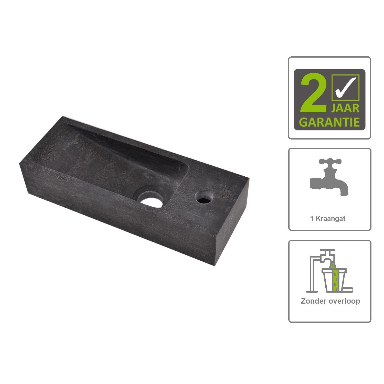 Sanitair-producten 73852 BWS Hardsteen Fontein Zwart Smal 38x14x8 cm (Kraangat Rechts)