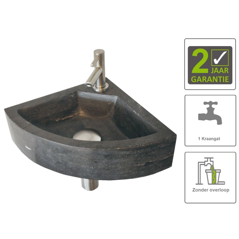 Sanitair-producten 73848 BWS Hardstenen Hoekfontein 30x30x10 cm