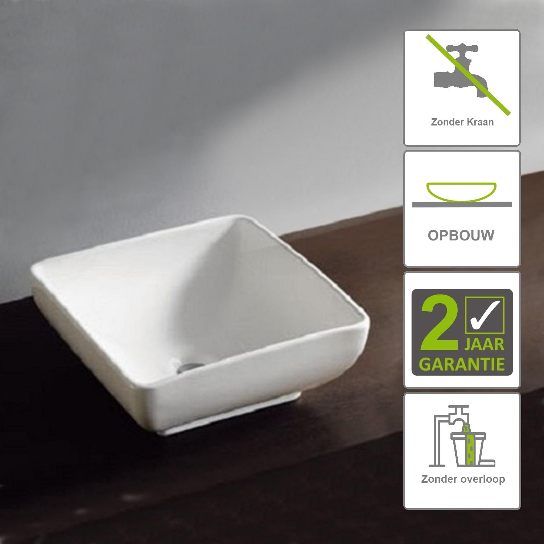 Sanitair-producten 73146 BWS Hathor Opzetwastafel Keramiek 400x400x150cm Wit (zonder kraangat)