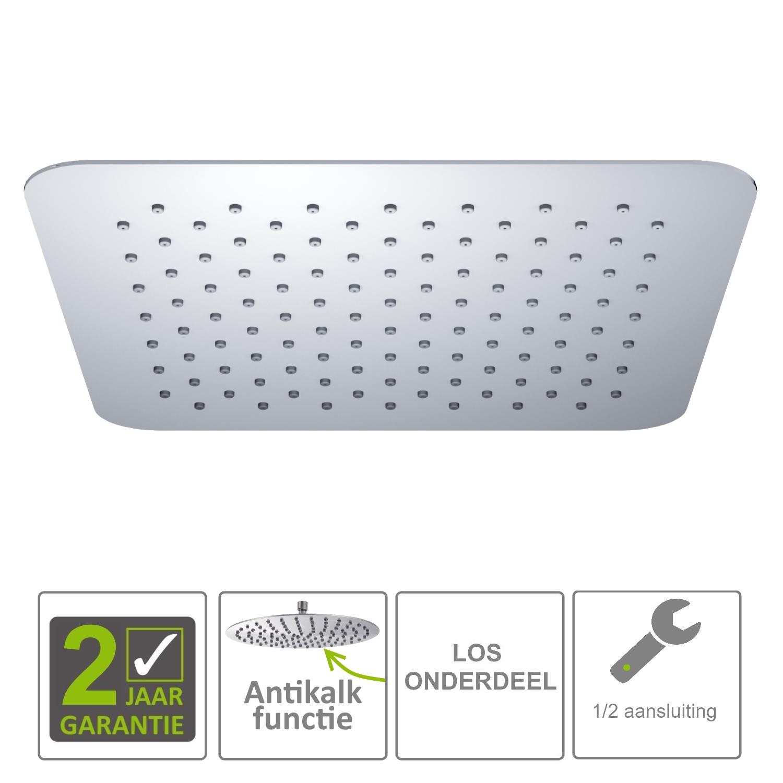 Sanitair-producten 72343 BWS Hera Hoofddouche UFO 30cm Ultra plat Vierkant 304-RVS