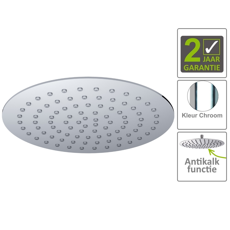 Sanitair-producten 75150 BWS Hoofddouche Luxe Rond Ultra Plat 20cm Chroom