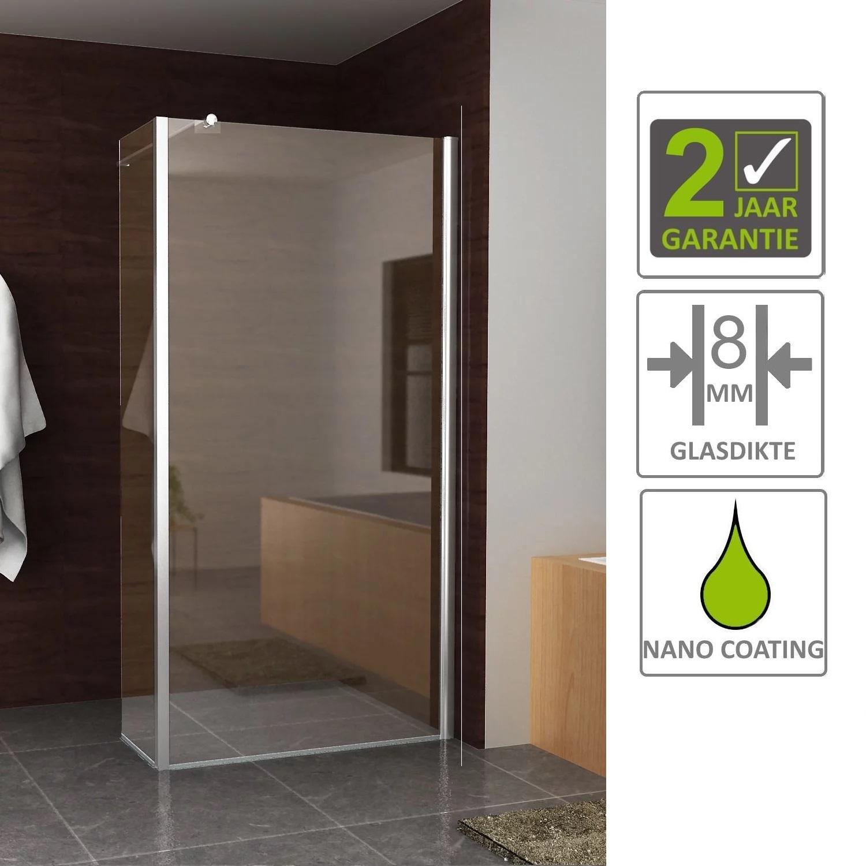 Sanitair-producten 68453 BWS Inloopdouche Huron met Zijwand 30 cm 100x200 cm 8 mm NANO Coating