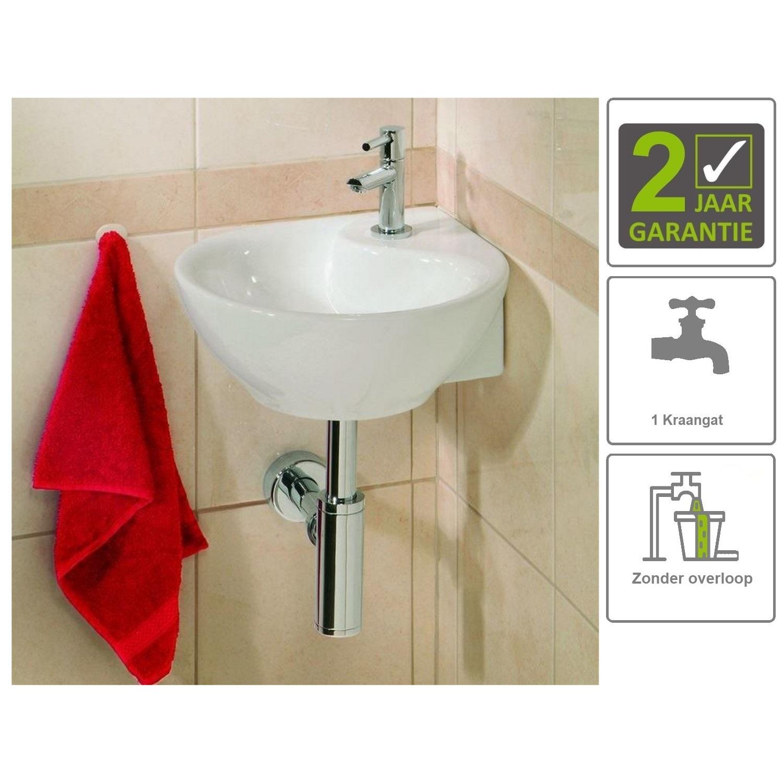 Sanitair-producten 73840 BWS Keramische Hoekfontein Kwartrond Wit 35x35 cm