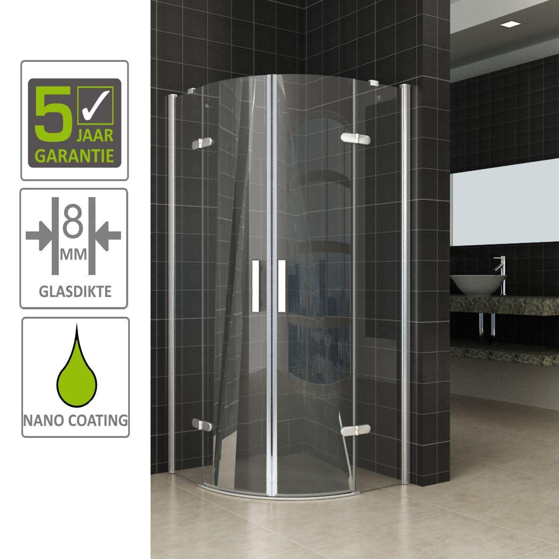 Sanitair-producten 66797 BWS Kwartronde Douchecabine 100x100 cm met 2 deuren 8mm NANO coating