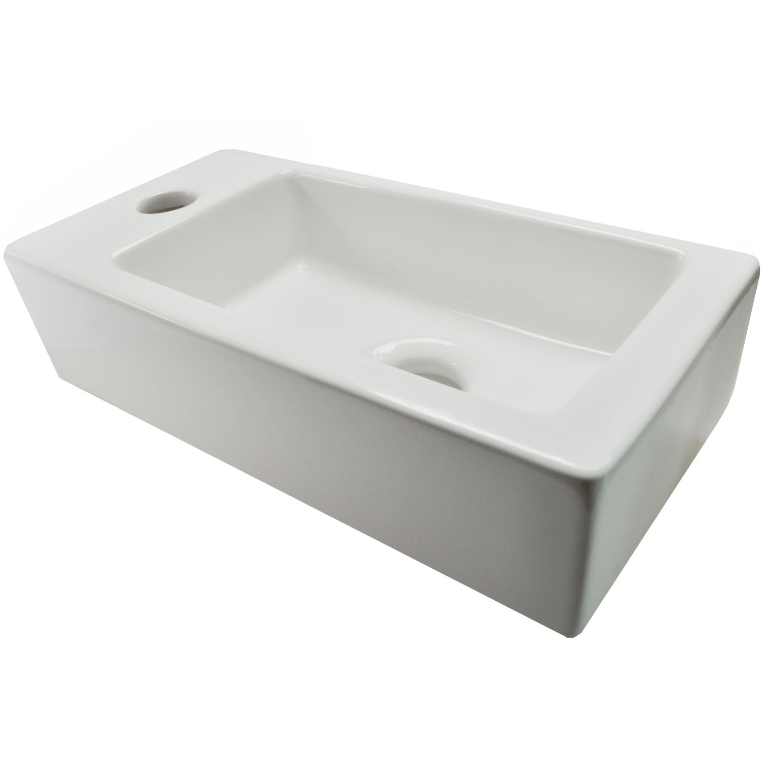 Wastafels 62053 BWS Mini Fontein Keramisch Blong Links 36x18x9 cm Wit