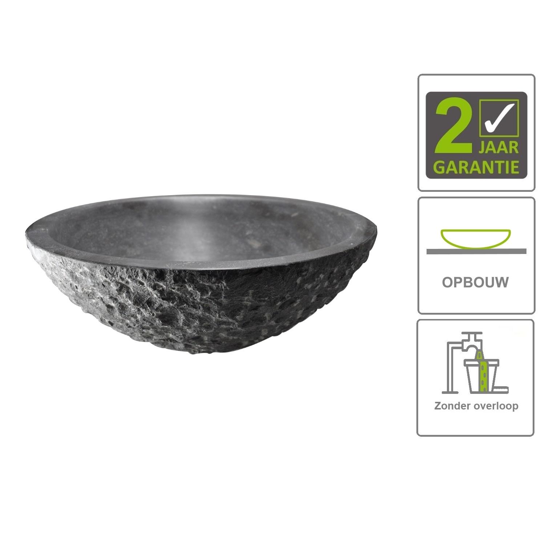 Sanitair-producten 74029 BWS Opzet Waskom Hamerslag Hardsteen Rond 42×14 cm Zwart