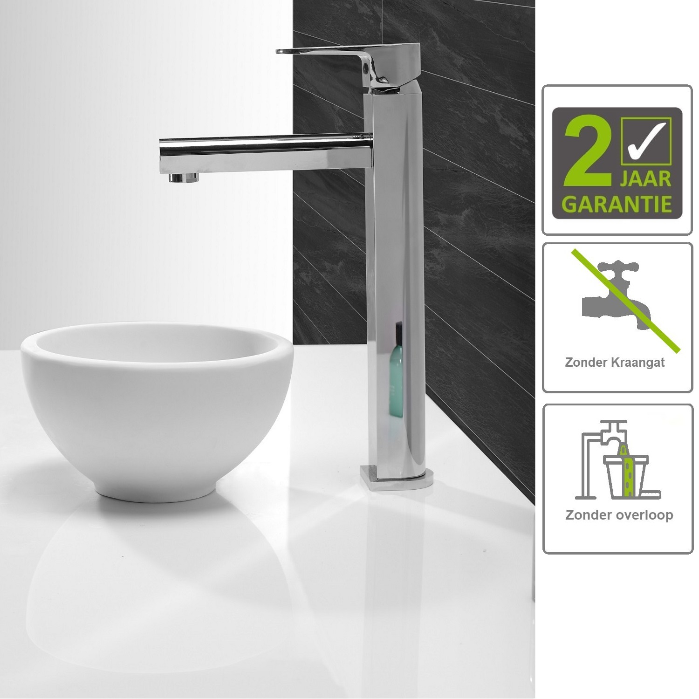 Sanitair-producten 73843 BWS Opzetfontein Solid Surface Rond 20x20x11 cm Mat Wit
