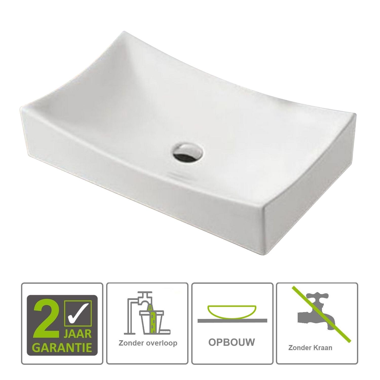 Sanitair-producten 73135 BWS Opzetwastafel Gaia Keramiek Geen Overloop 650x395x135mm Wit