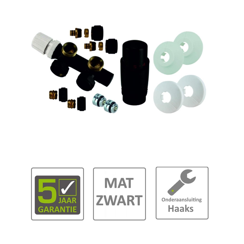 Sanitair-producten 73123 BWS Radiator Onderblok Haaks Links Mat Zwart (Voor midden aansluiting)