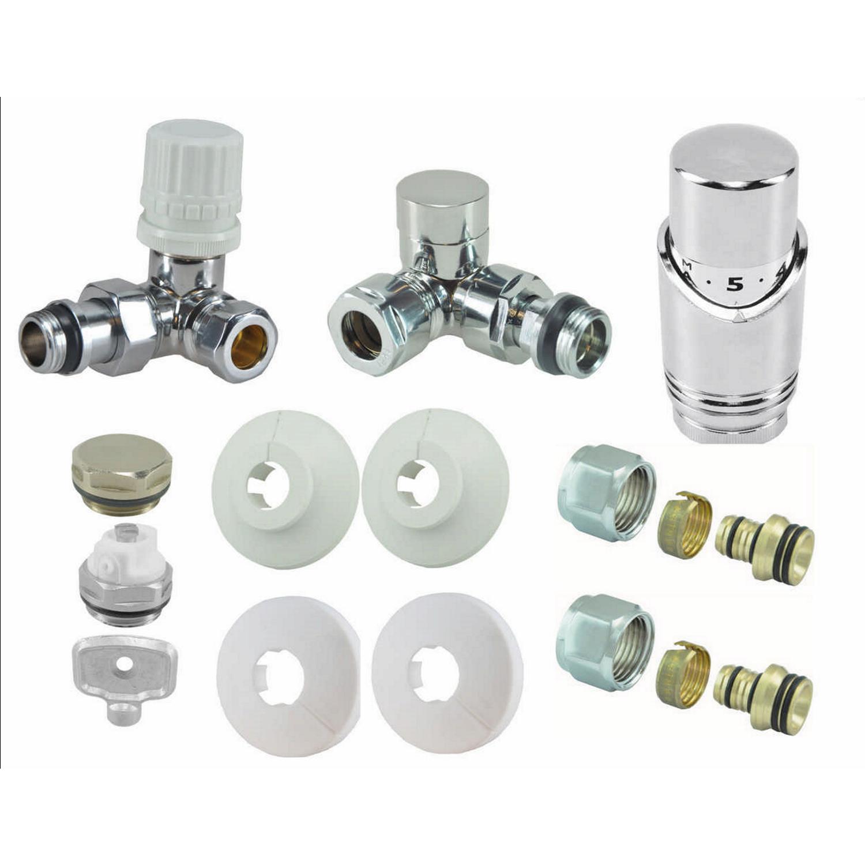 Sanitair-producten 67494 BWS Thermostatische Radiator Aansluitset Thor Haaks Verkeerd Links