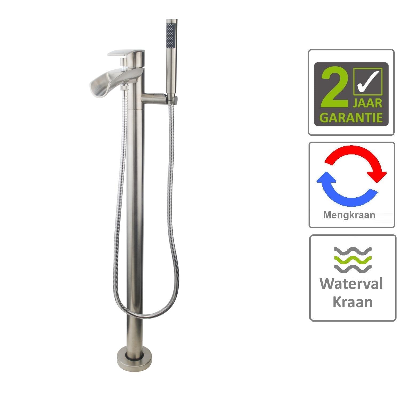 Sanitair-producten 70207 BWS Vrijstaande Badmengkraan met Waterval Geborsteld Staal