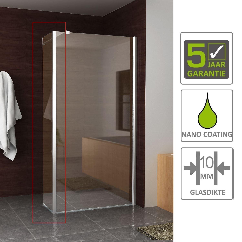 Sanitair-producten 67458 BWS Apollo Zijwand met Hoekprofiel 30x200cm 10mm NANO Coating