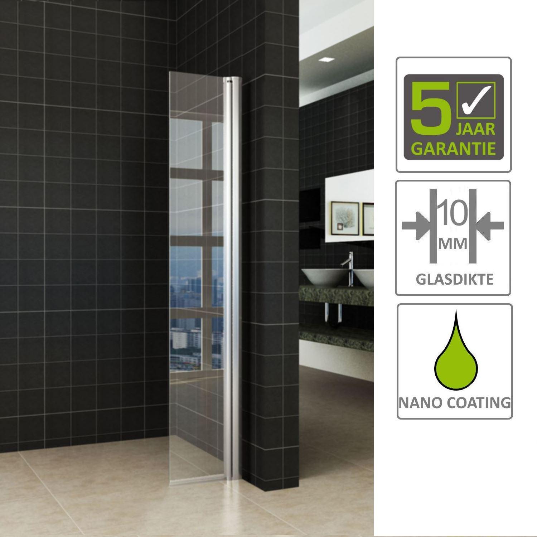 Sanitair-producten 67741 BWS Apollo Zijwand met Scharnierend Muurprofiel 40×200 cm 10mm Nano Glas
