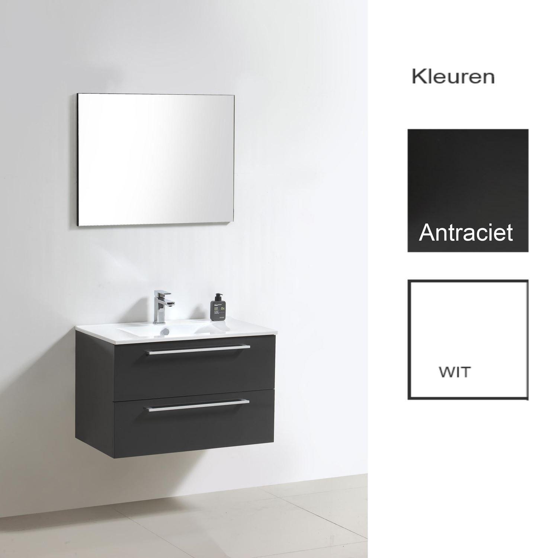 Badkamermeubels Wastafelonderkast kopen? Badkamermeubelset Sanilux Roma 80x46x50 cm (in twee kleuren leverbaar) met korting