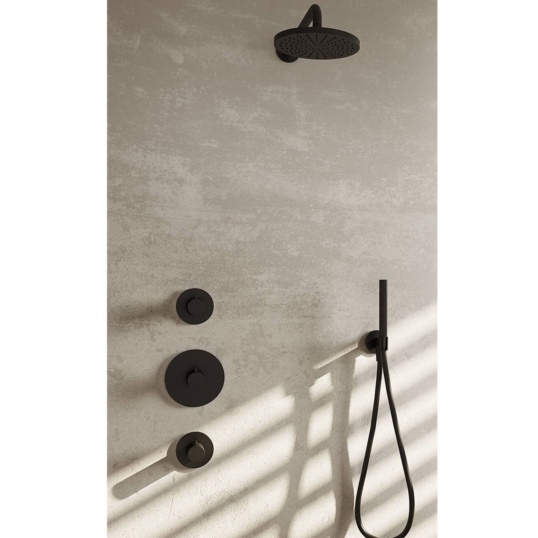 Hotbath cobber ibs cobber 007gn therm. 2 stopkranen plafondbuis 30 cm gn geborsteld nikkel IBS20GN35
