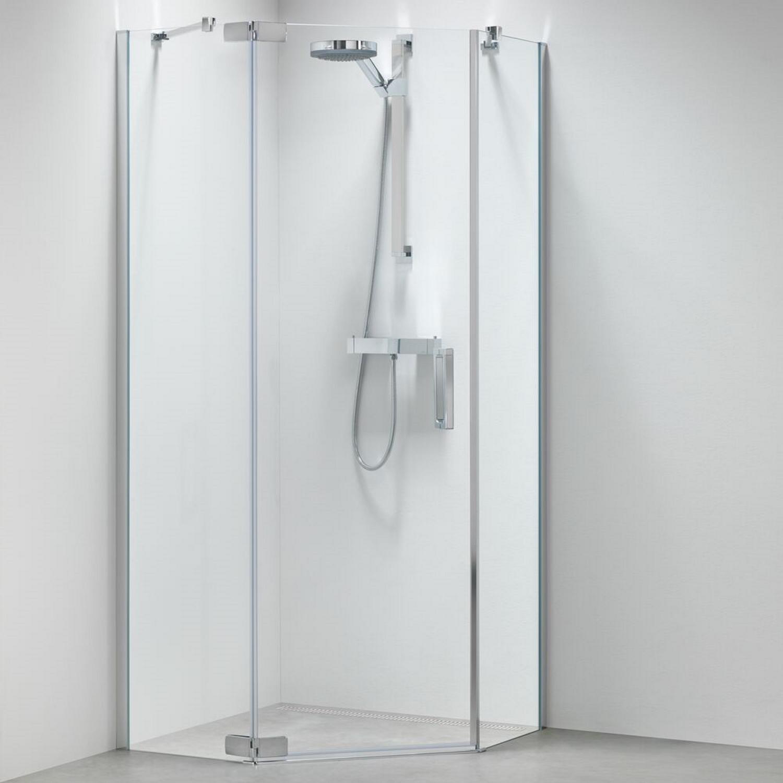 Productafbeelding van 5-hoek Douchecabine Sealskin Get Wet Custom Swingdeur Rechts 100x100cm Zilver hoogglans Helder Glas