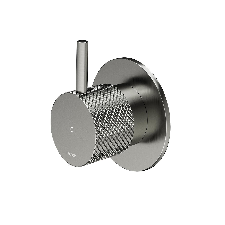 Inbouw Stopkraan Hotbath Cobber X Koud Geborsteld Nikkel (excl. inbouwdeel)
