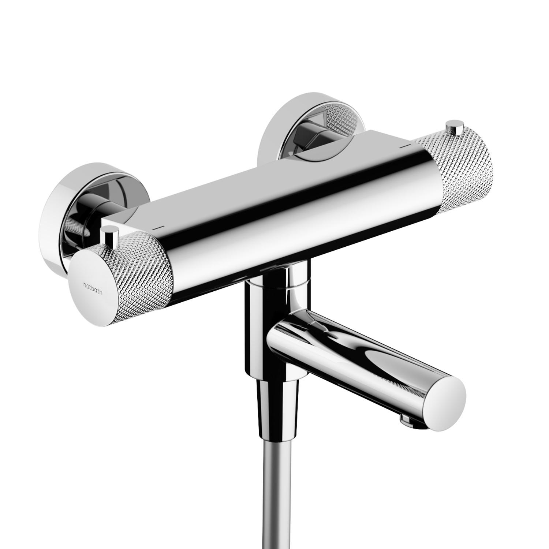 Productafbeelding van Hotbath Cobber X CX020 thermostatische badmengkraan met omstel uitloop chroom