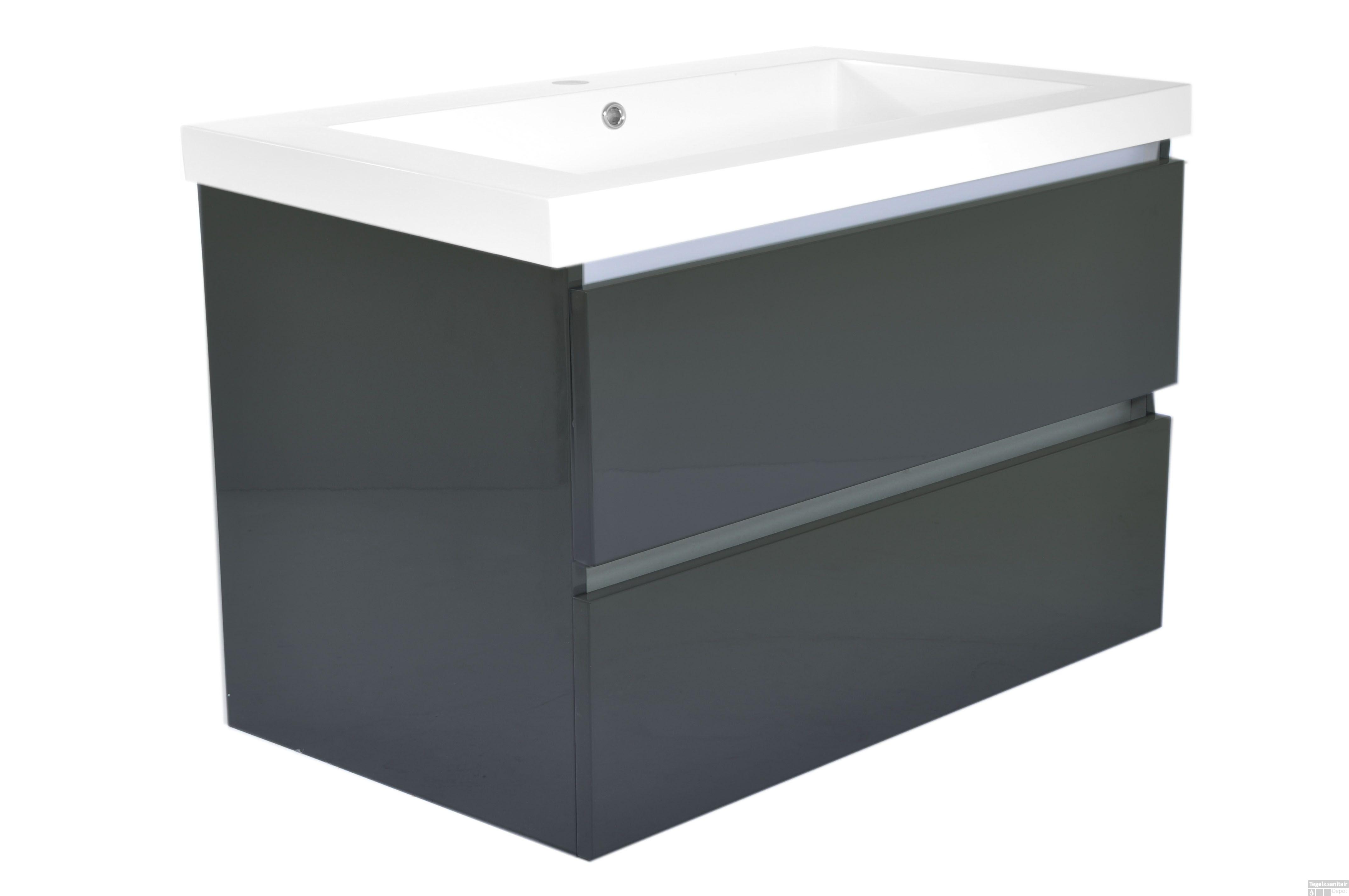 Badkamermeubel wiesbaden vision 80x47 hoogglans grijs met wastafel