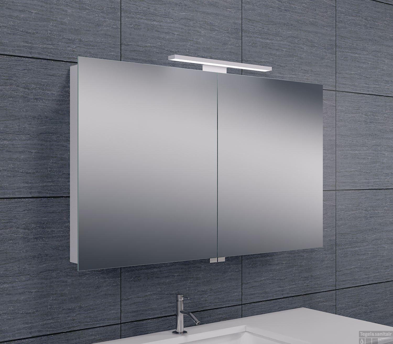 Spiegelkast wiesbaden met led verlichting 100x60 aluminium for Spiegelkast badkamer 60 cm