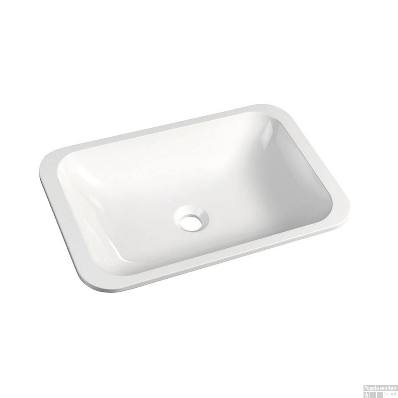Wasbak Wit Rechthoekig.Wastafel Inbouw Sapho Japura Rechthoekig 55x36x12 Cm Marmer Wit