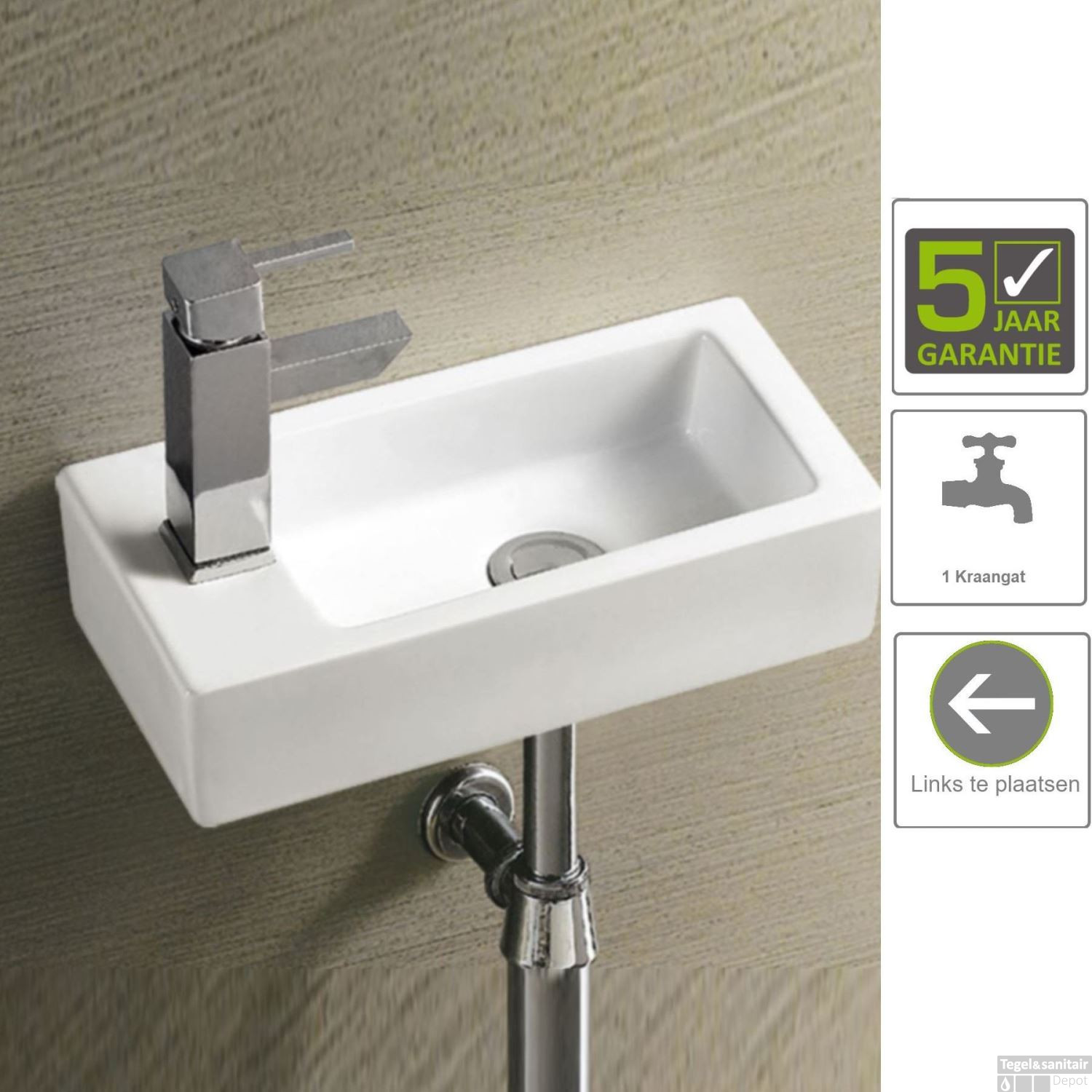 Mini Fontein Toilet.Bws Mini Fontein Keramisch Blong Links 36x18x9 Cm Wit