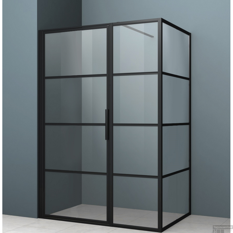 Douchecabine Mat Glas.Douchecabine Driedelig Lacus Tremiti 6mm Helder Glas Mat Zwart Aluminium Profiel Alle Maten