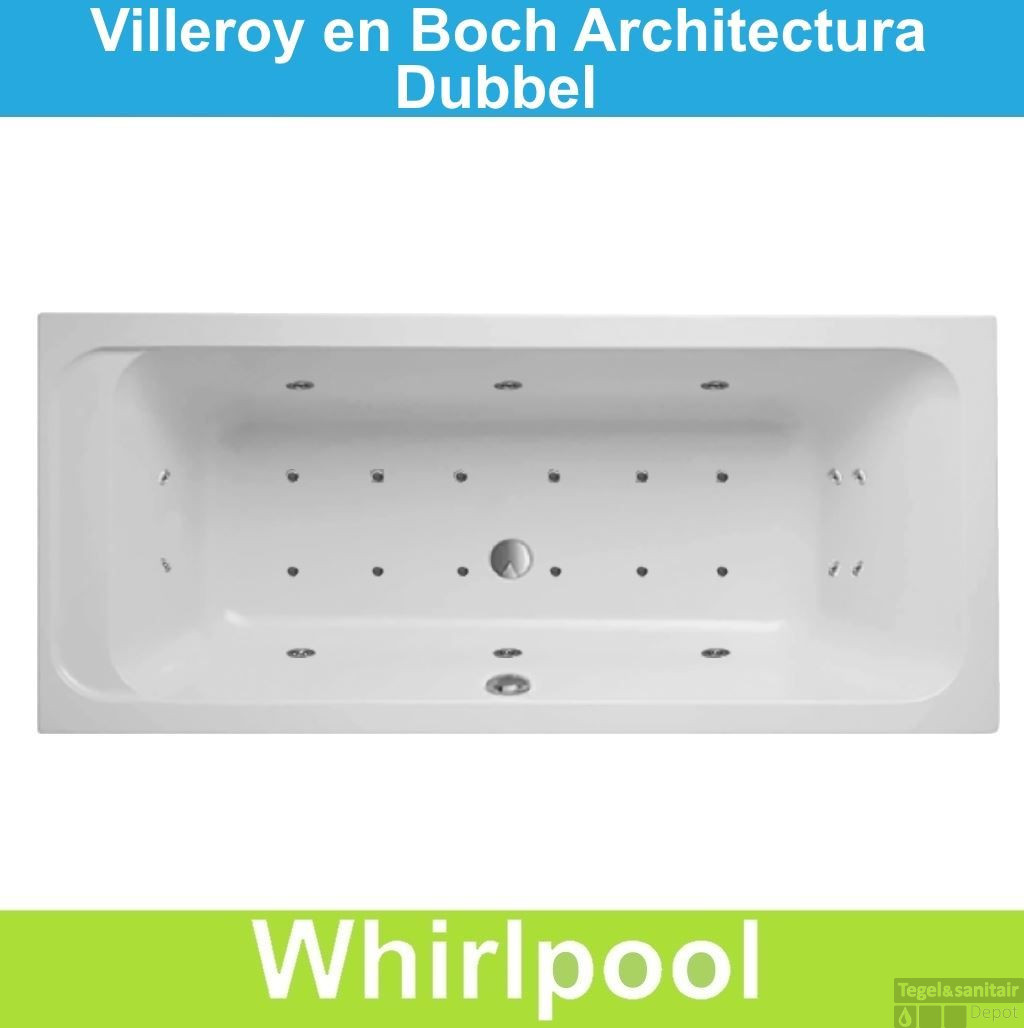ligbad villeroy boch architectura 190x90 cm balboa whirlpool systeem dubbel. Black Bedroom Furniture Sets. Home Design Ideas