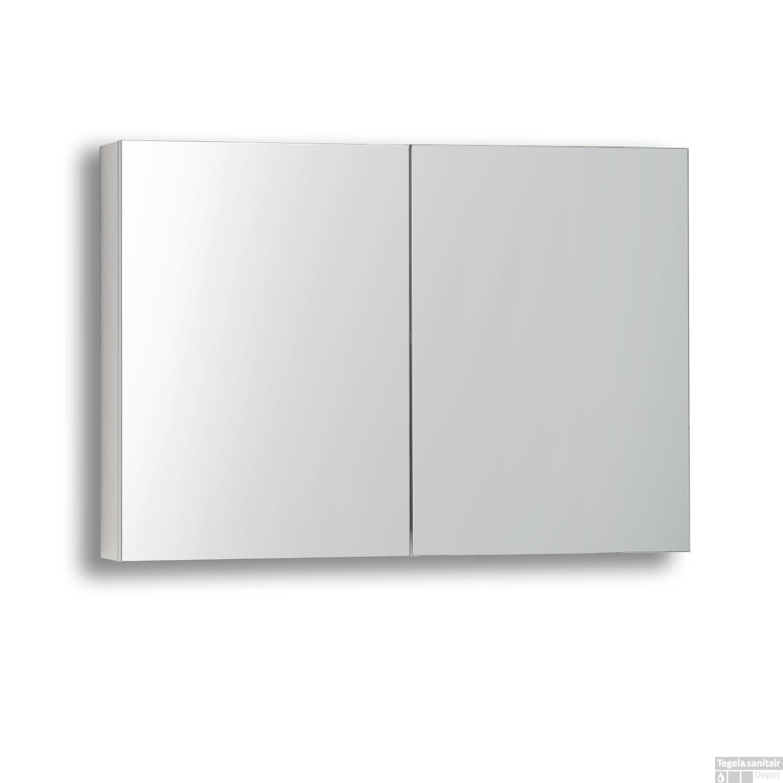 Spiegelkast sanilux white zonder verlichting hoogglans wit for Spiegelkast 80 cm