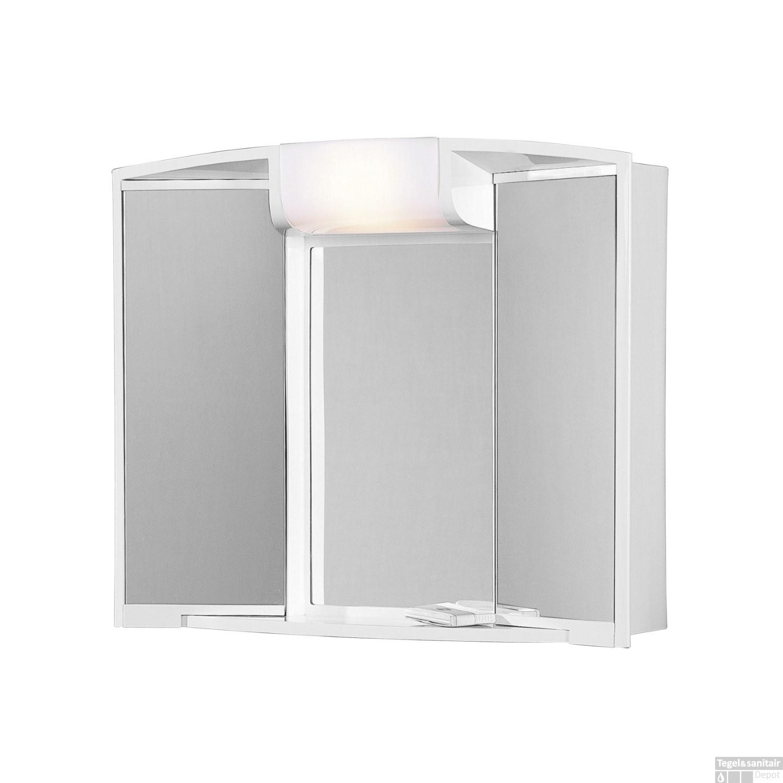 spiegelkast go by van marcke angy 59x15x50cm kunststof verlichting 2 legplanken