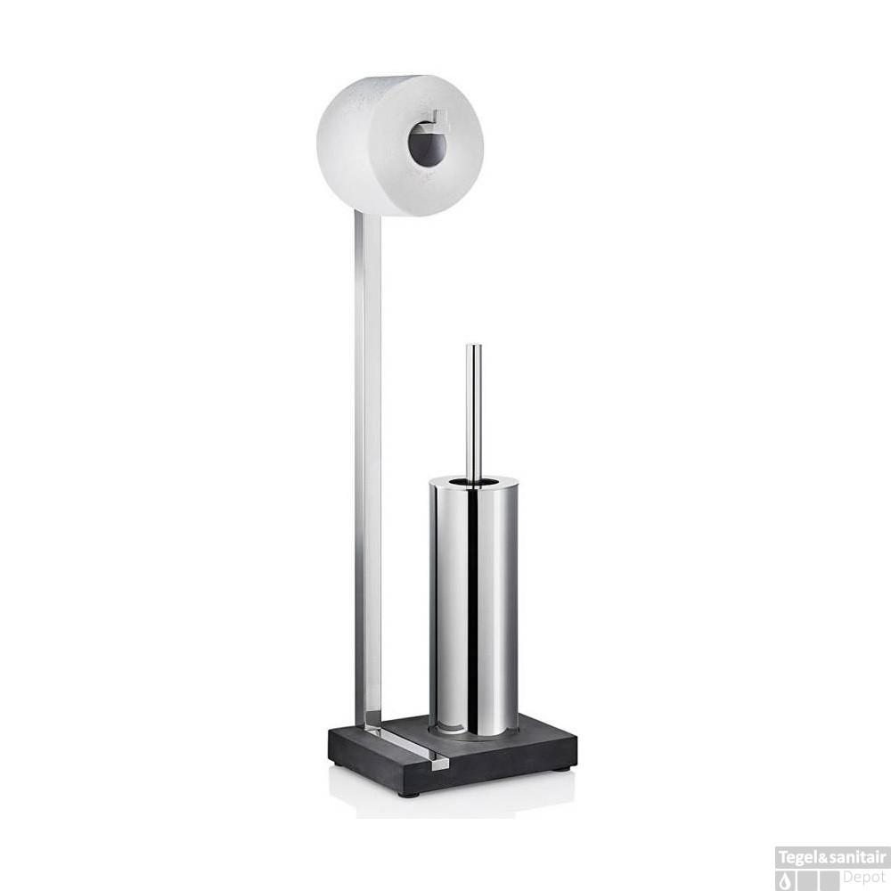 Wc Borstel En Toiletrolhouder.Toiletrolhouder En Borstel Blomus Menoto Design Gepolijst Rvs
