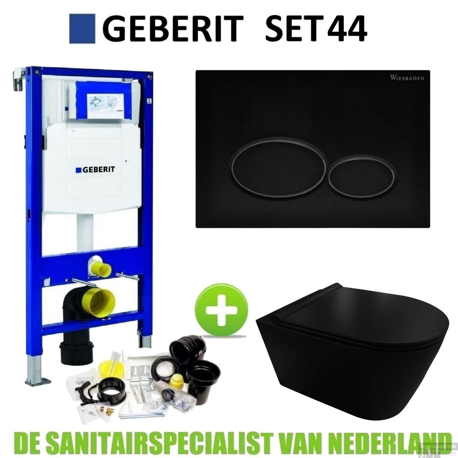 1fa6577e016 Geberit UP320 Toiletset set44 Civita Black Rimless Met Matzwarte Drukplaat