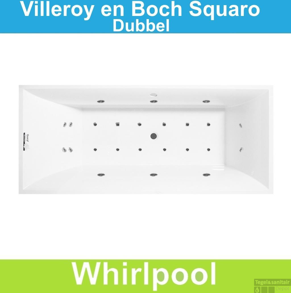 ligbad villeroy boch squaro 180x80 cm balboa whirlpool systeem dubbel. Black Bedroom Furniture Sets. Home Design Ideas
