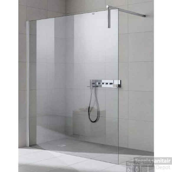 Kermi Walk-in Shower Wall Xs Inloopdouche 120x200 Cm.links Met Wandsteun Matzilver-clean Glas