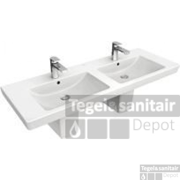 Villeroy & Boch Subway 2.0 Dubbele Wastafel 130x47 2xkr.gat M/overl.ceramicpl Wit