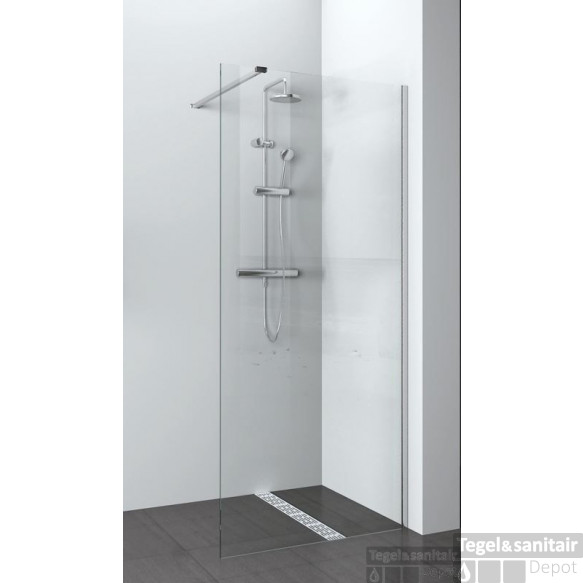B&w-luxury Quattro Base Walk-in Douche 120x200 Cm. Chroom-helder Clean