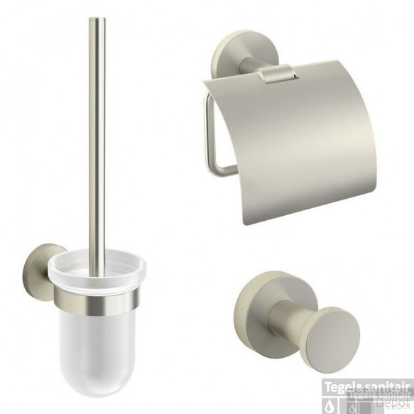 B&w-luxury Nice Toiletset Met Haak - Closetrol En Borstelhouder Brushed Nickel
