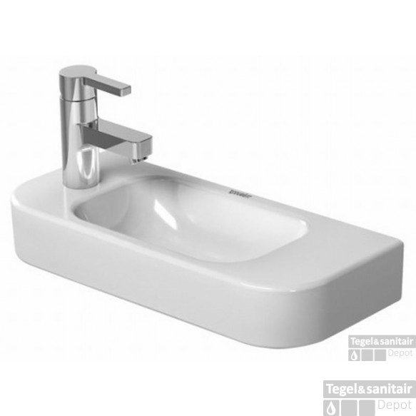 Duravit Happy D.2 Fontein 50x22 Cm.met Kraangat Links En Overloop Wit