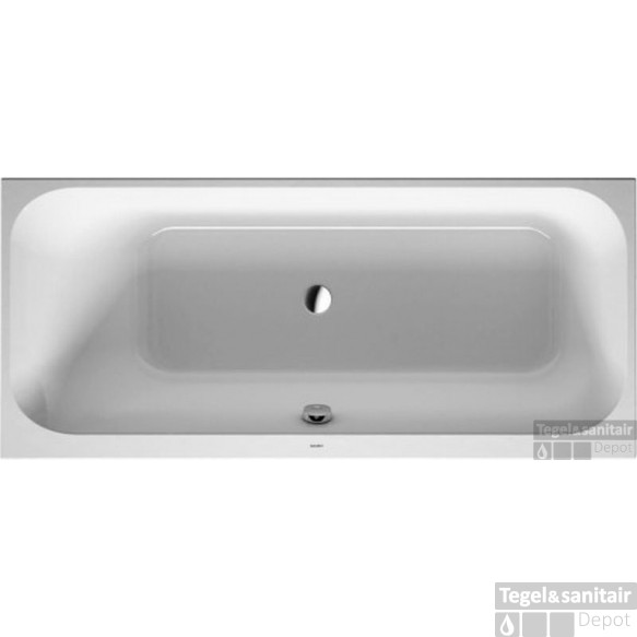 Duravit Happy D.2 Bad Rugsteun Links 170 X 75 Cm. Zonder Poten Wit