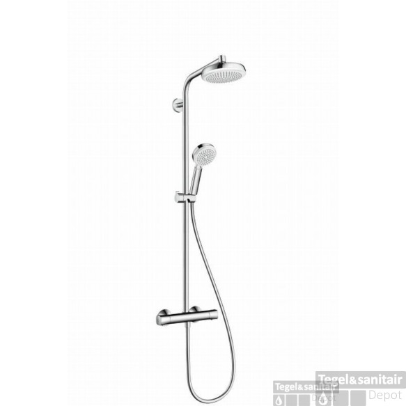 Hansgrohe Crometta 160 Showerpipe Met Thermostaat Wit-chroom
