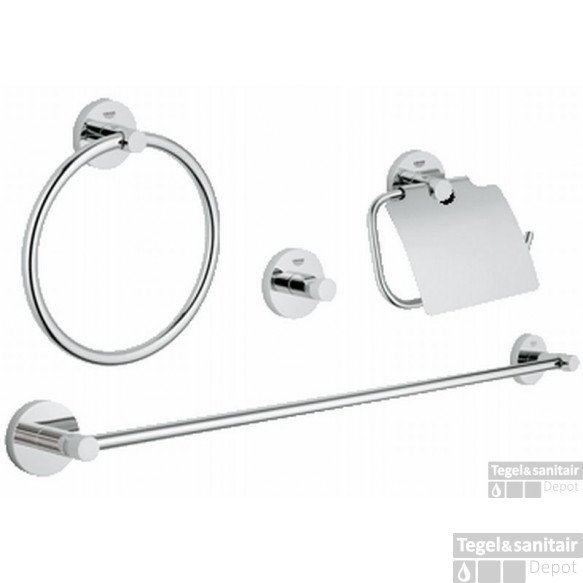Grohe Essentials Accessoireset 4-in-1 (haak-rolh.-handdoekh.-ring) Chroom