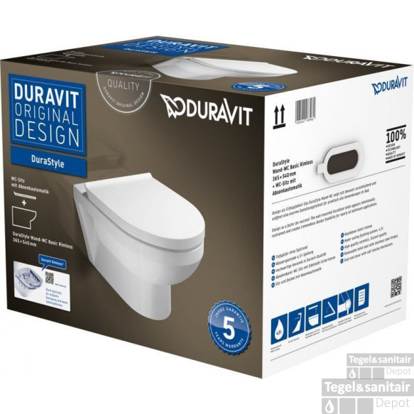Duravit Durastyle Wandcloset Rimless Pack Met Softclose Zitting Wit